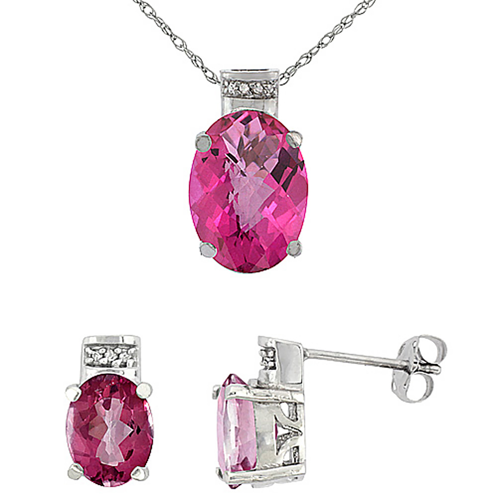 10K White Gold Natural Oval Pink Topaz Earrings & Pendant Set Diamond Accents by WorldJewels
