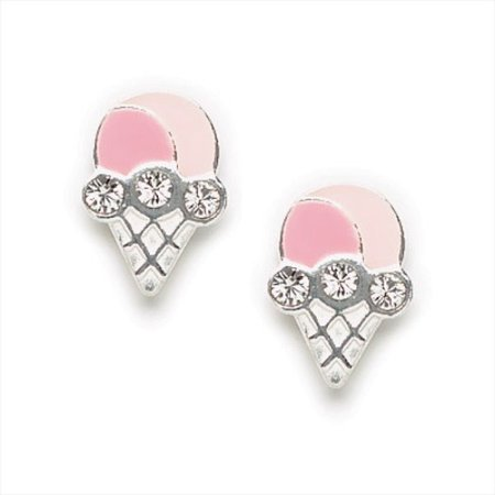 Cute Little Pink Enamel Ice Cream Cone Earrings with Swarovski Crystals, #7146