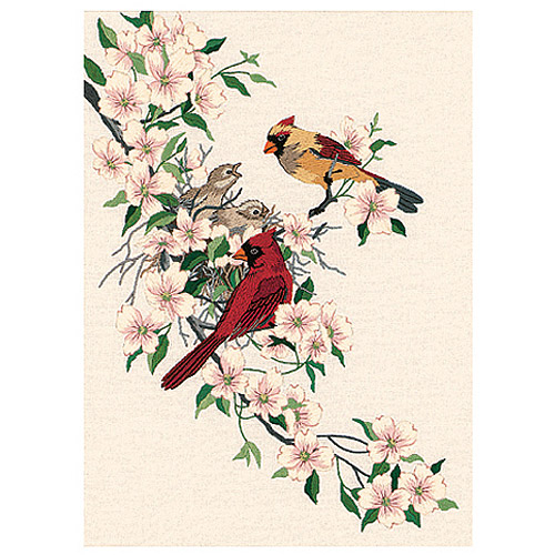 "Dimensions ""Cardinals In Dogwood"" Crewel Kit, 11"" x 15"", Stitched In Wool and Thread"