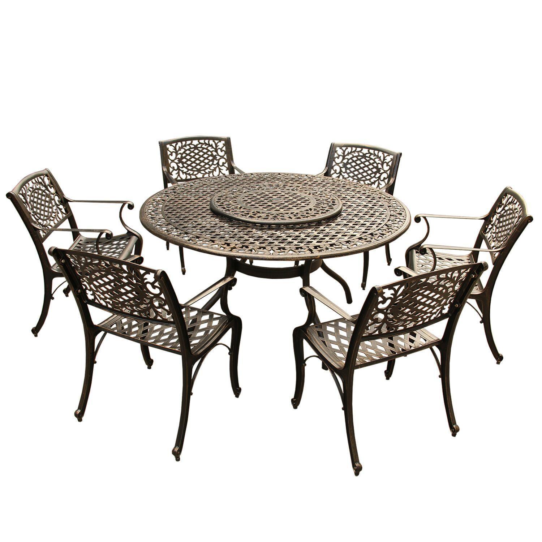 7-Piece Bronze Traditional Ornate Lattice Round Aluminum Patio Dining Set