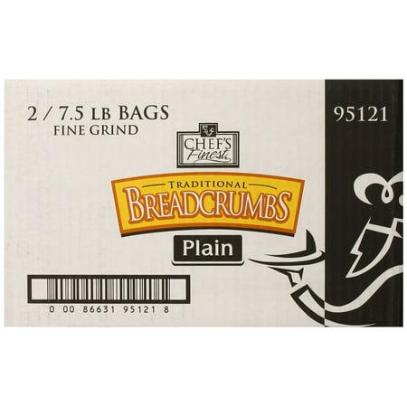 2 PACKS : Chef's Finest Bread Crumbs, Fine Grind, Plain, 7.5 Pound