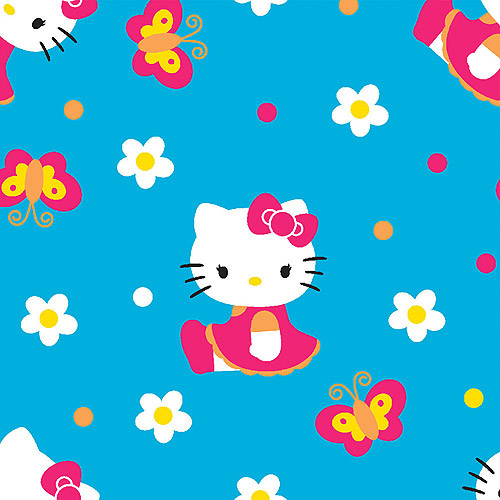 "Springs Creative Hello Kitty Butterflies And Flowers 43"" wide Fabric by the Yard"