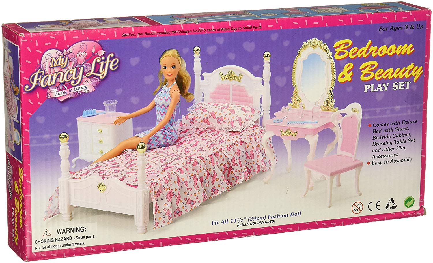 Fancy Life DOLLHOUSE FURNITURE Size Beauty Hair Salon W// Beauty Table PLAY SET