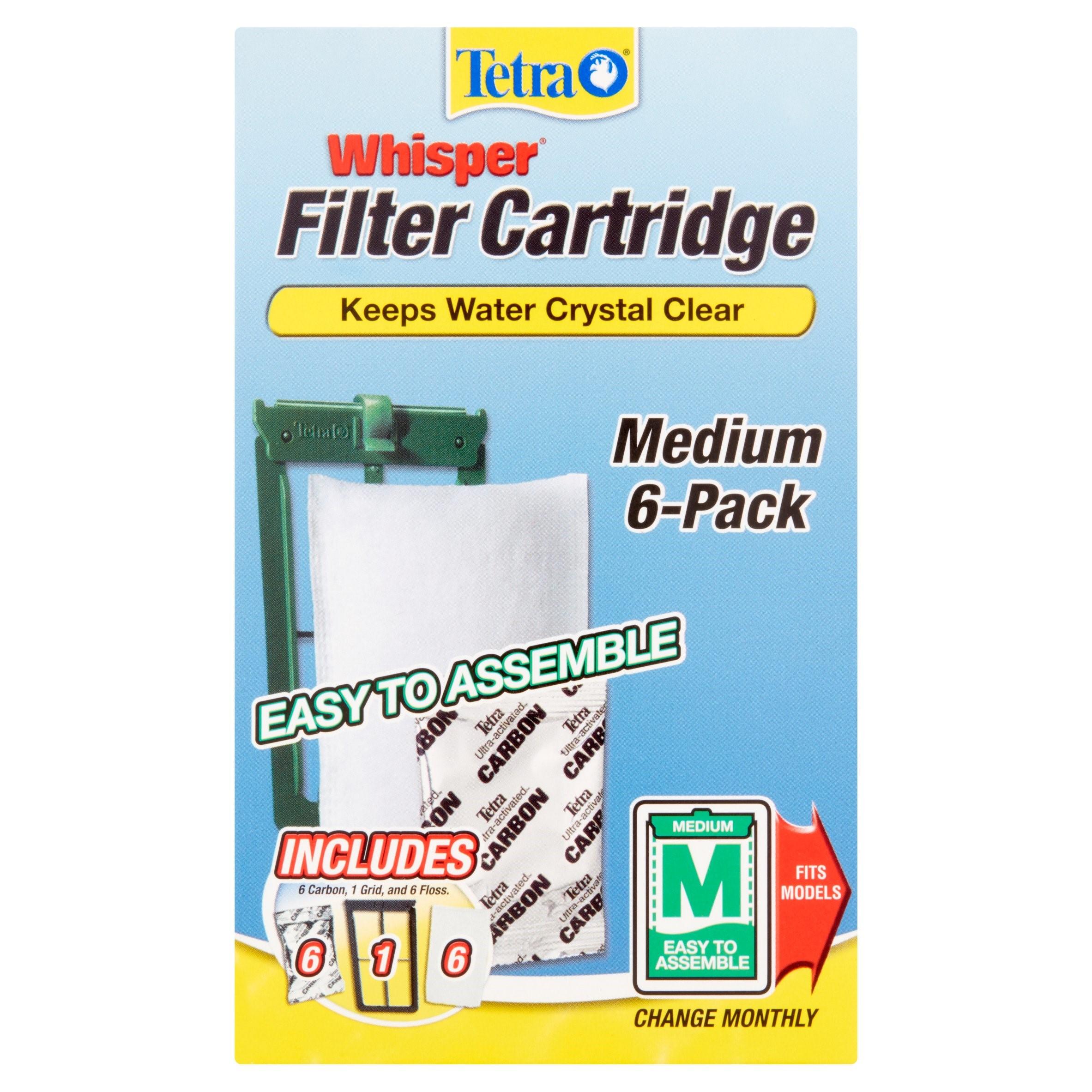 Tetra Whisper Replacement Carbon Aquarium Filter Cartridges, Medium, 6 ct