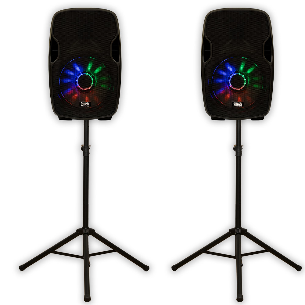 "Acoustic Audio AA15LUB Powered 2000W 15"" Bluetooth Speaker Pair with LED Flashing"