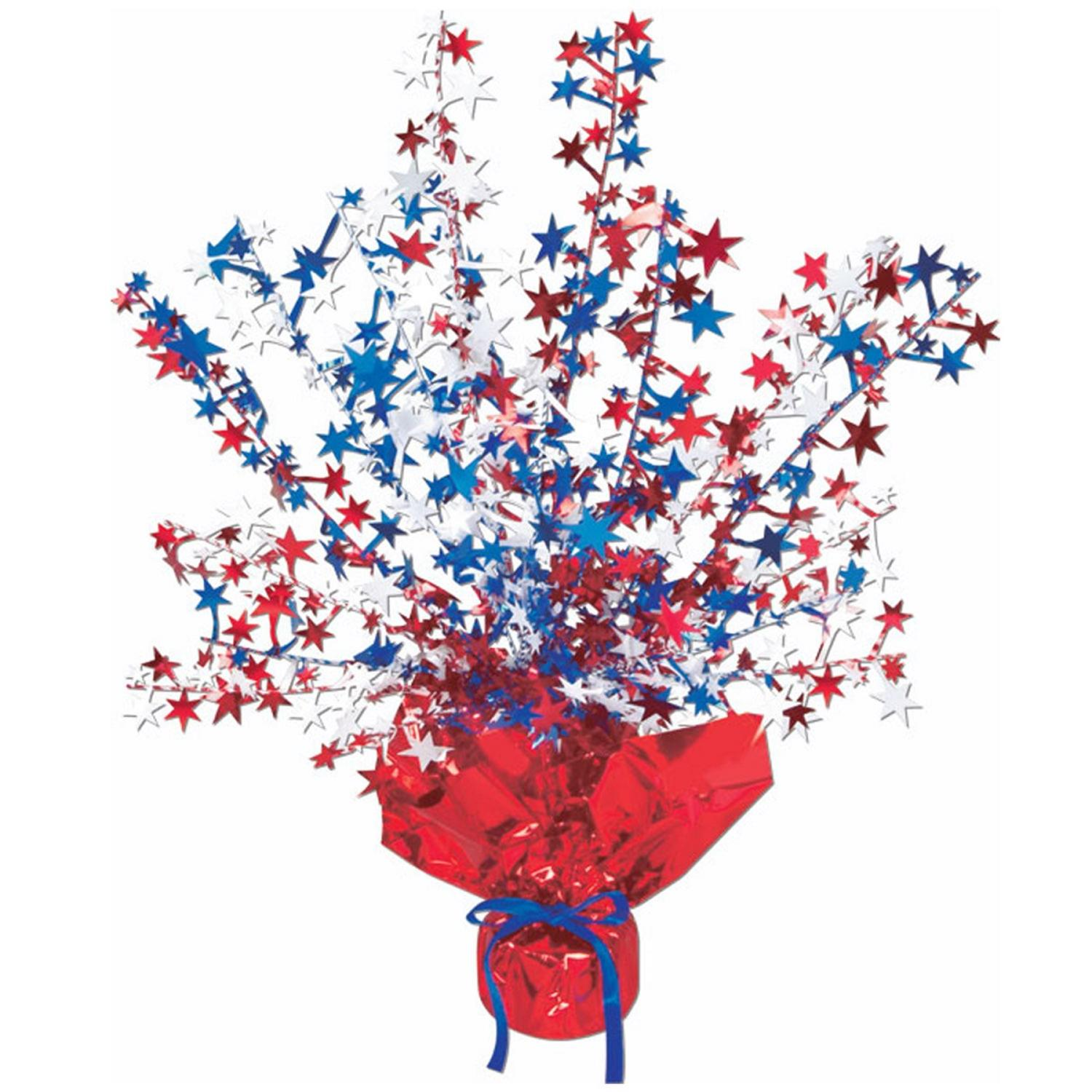 Club Pack of 12 Red, White and Blue Star Gleam 'N Burst Centerpiece Party Decorations 15""