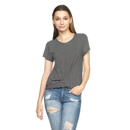 OFASHIONUSA Women's Stripe Round Neckline Short Sleeve Front Twist At The Hem Blouse Shirt  Top