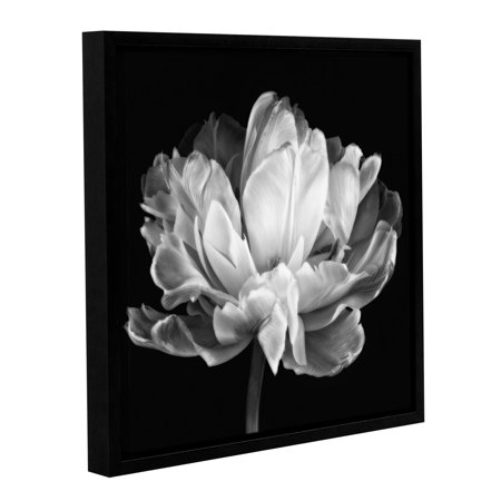'Tulipa Double Black and White II' Gallery Wrapped Floater-framed Canvas Art Print, 18x18
