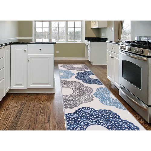 Contemporary Blue Large Floral Non-slip (Non-skid) Area Rug or Runner by World Rug Gallery