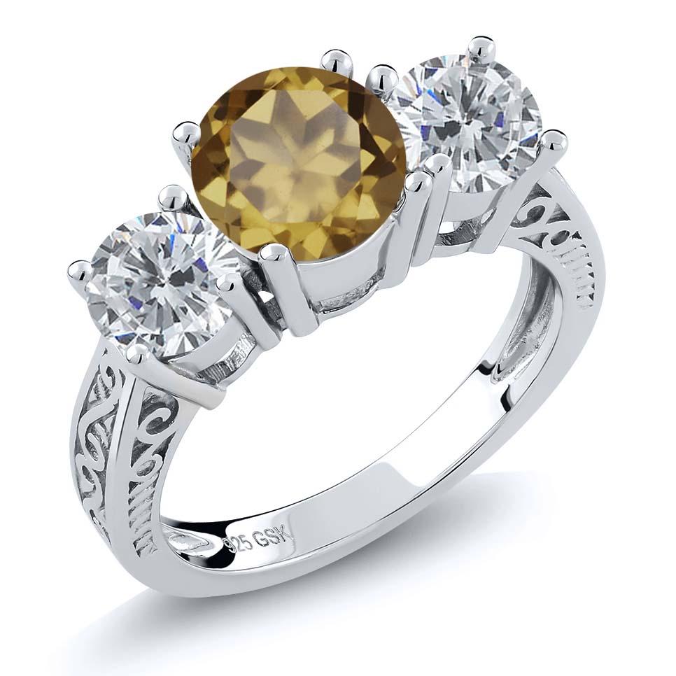 2.25 Ct Round Whiskey Quartz I/J Diamond 925 Sterling Silver 3-Stone Ring