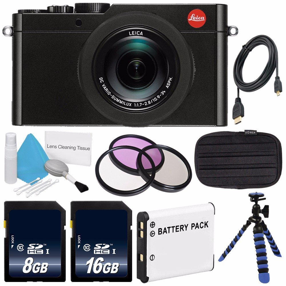 Leica D-LUX (Typ 109) Digital Camera (Black) (International Model no Warranty) + DMW-BLE9 Replacement Lithium Ion Battery + Flexible Tripod with Gripping Rubber Legs + Mini HDMI Cable Bundle 22