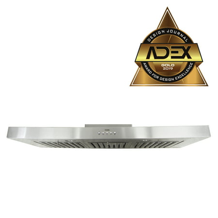 KOBE RAX2136SQB-1 Brillia 36-inch Under Cabinet Range Hood, 3-Speed, 750 CFM, LED Lights, Baffle Filters (750 Range)