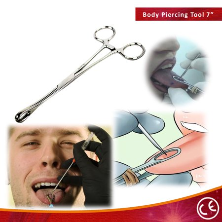 "BDEALS 7.5"" Sponge Clamp Slotted Forceps Surgical Body Piercing Instruments"