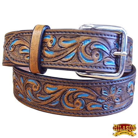 Leather Gun Holster Belt Antique Brown Turquoise Paint Inlay Hand (Best Way To Sell Antique Guns)