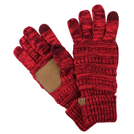 C C Unisex Cable Knit Winter Warm Anti Slip Touchscreen Texting Gloves  2 Tone Burgundy