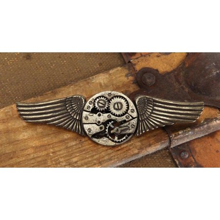 Steampunk Antique Gear Wings Pin Costume Jewelry Adult One -