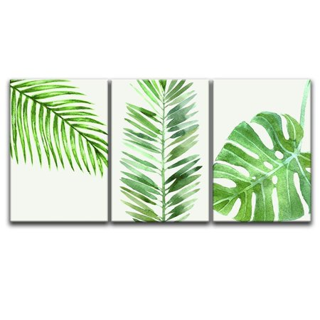 wall26 3 Panel Canvas Wall Art - Watercolor Style Green Tropical Leaves - Giclee Print Gallery Wrap Modern Home Decor Ready to Hang - 24