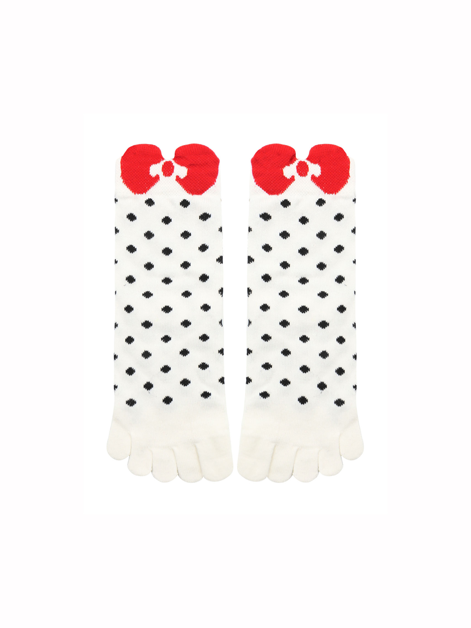 Unique Bargains Women's Dots Bowknot Pattern Stretchy Ankle Length Toe Socks 10-12
