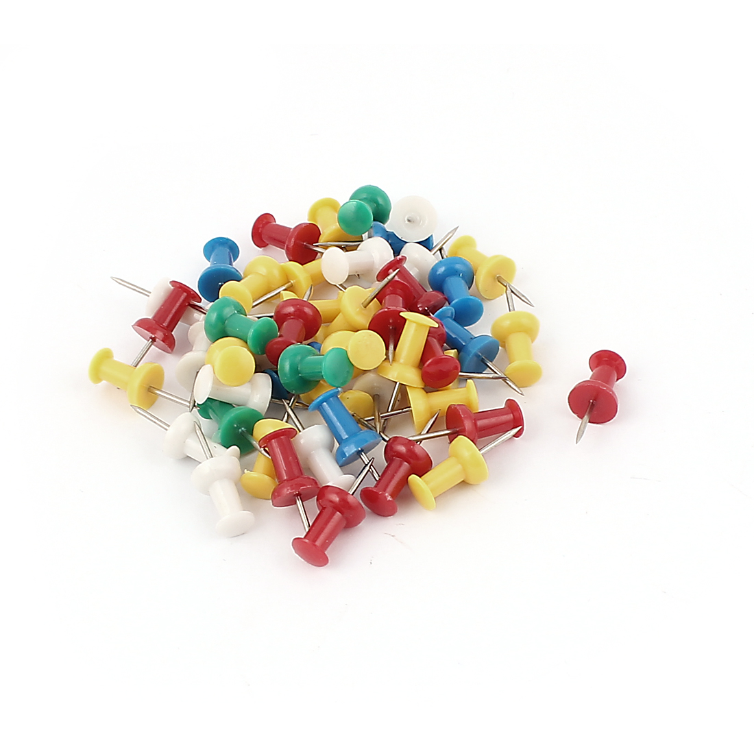 Unique Bargains 50 Pcs Home/Office Plastic Coated Round Board Map Push Pins Thumbtacks Assorted Color