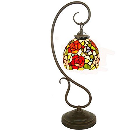 Bieye Tiffany Style Stained Glass Question Mark Table Lamp