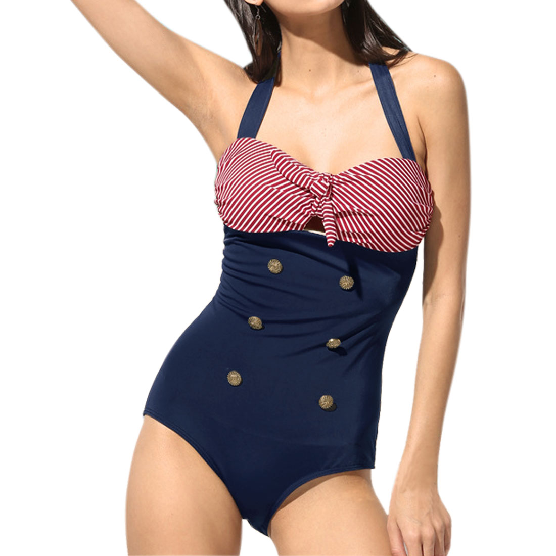 Unique Bargains Women Vintage One Piece Swimsuit US 12 Red Striped Bow Halter Bathing Suit Navy