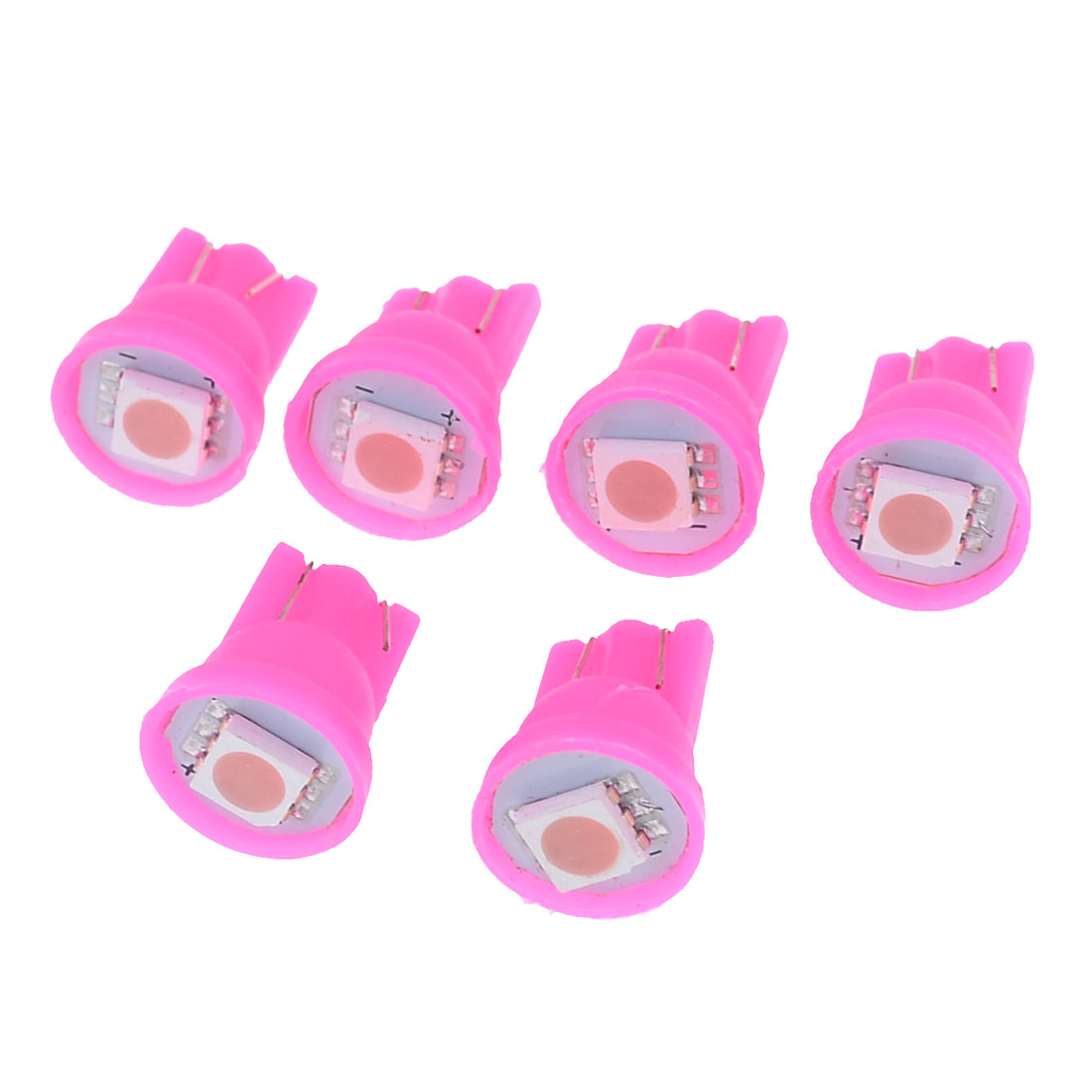 Unique Bargains 6 x T10 194 152 Wedge Pink 5050 SMD LED Car Tail Break Light Lamp Bulb