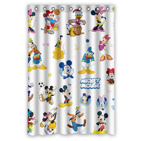 DEYOU Mickey Mouse And Donald Duck Cartoon Shower Curtain Polyester Fabric Bathroom Size 48x72 Inches