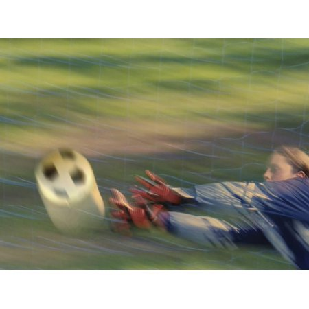 Female Goalie Attempting to Stop a Soccer Ball Print Wall Art