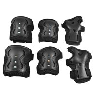 Cycling Skating Plastic Knee Elbow Wrist Pads Protective Gear Set Black for Adult
