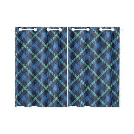 MKHERT Blue Plaid Blackout Window Curtain Kitchen Curtain 26x39 inch, 2 Panels ()