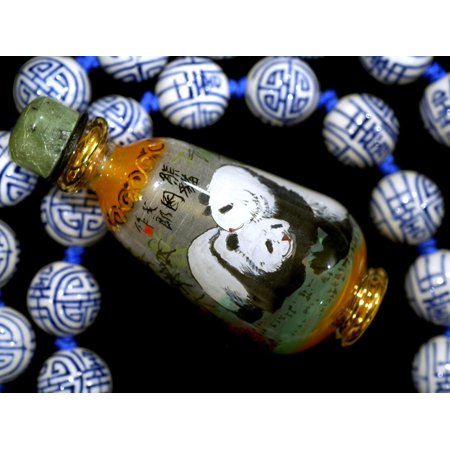Hand Painted Panda Snuff Bottle, Chinese Bead Necklace, China Print Wall Art By Cindy Miller Hopkins (Inside Hand Painted Snuff Bottle)