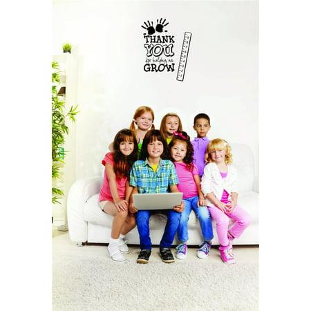 Custom Wall Decal Sticker - Thank You For Helping Us Grow Daycare Preschool School Kids Playroom Boy Girl Home Decor 10x20
