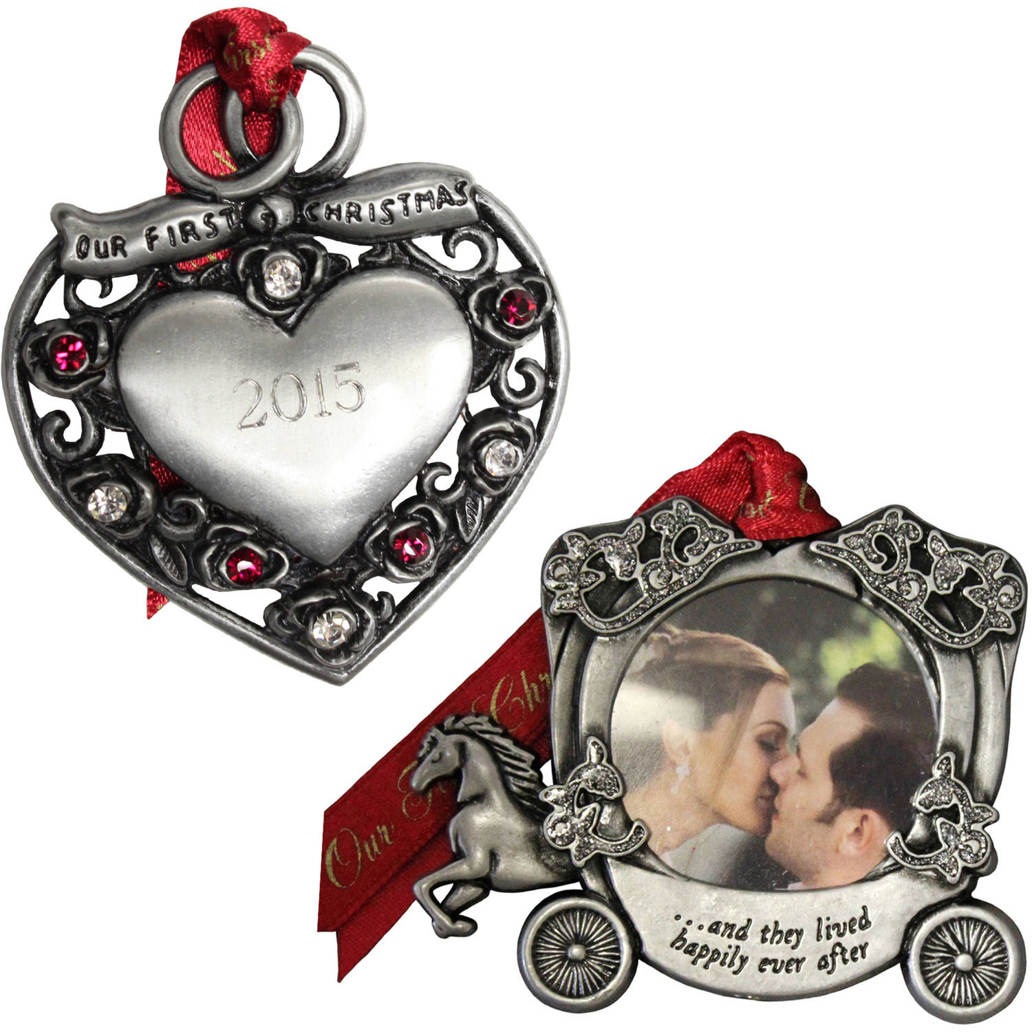 Personalized Gloria Duchin Married Couple's First Christmas Ornament 2-Piece Set