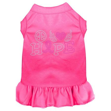 Peace Love Hope Breast Cancer Rhinestone Pet Dress Bright Pink Xs (8)