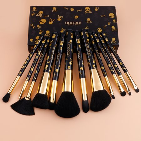 Docolor Goth Makeup Brush Sets 12 Pcs Skull Printed - Tutorial Halloween Makeup Skull