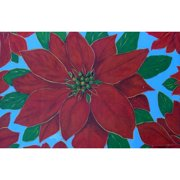 Custom Printed Rugs Holiday Poinsettia Doormat