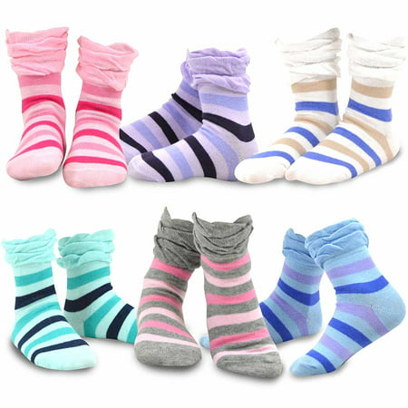 TeeHee Kids Girls Cotton Crew Ruffle Top Socks 6 Pair Pack (Stripes) (Stripes Hand Painted 3 Top)