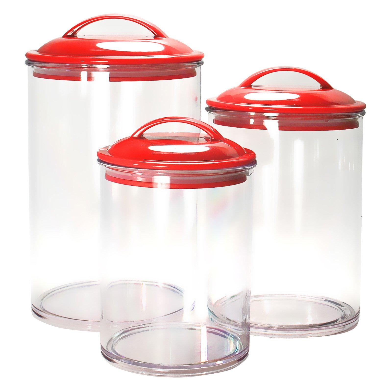 Calypso Basics, Acrylic Canister Set of 3, Red