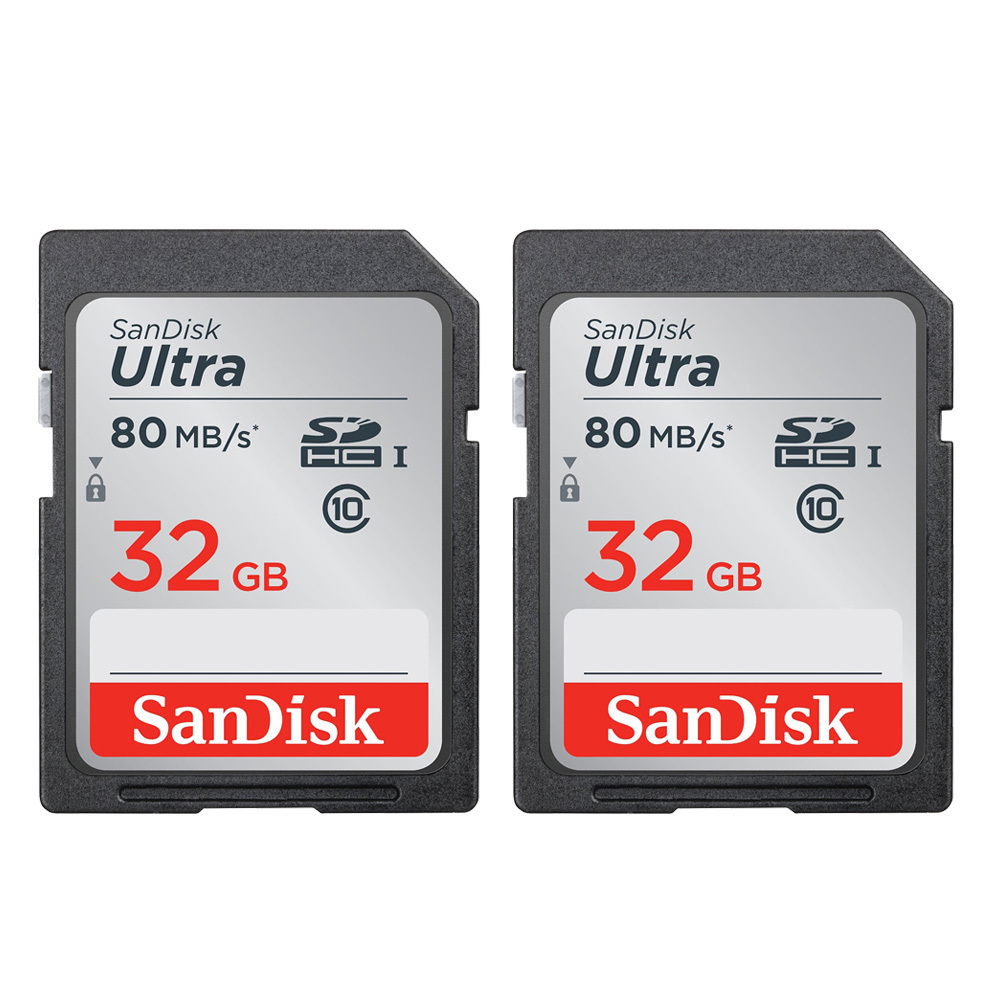Sandisk Ultra SDHC 32GB 80MB/S C10 Flash Memory Cards (2-Pack)