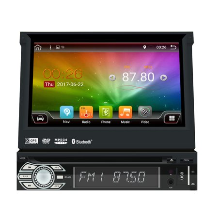 Upgrade Version Wifi Model Android 6.0 Single Din Car DVD Player Stereo GPS Navigation Head Unit Universal 1 din Automotibe Multimedia Video System HD 1080p Mirrorlink Colorful Button (Best Single Din Android Head Unit)