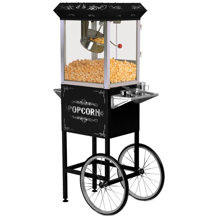 Elite Epm 300 2 In 1 Black Vintage Popcorn Trolley Cart 8oz