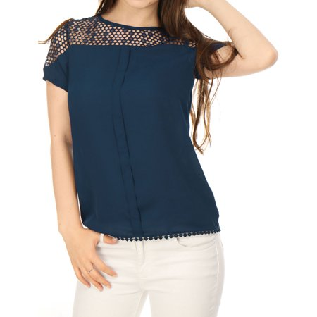 Women's Short Sleeves Blouses Semi Sheer Pleated Lace Top Blouse Shirt Blue S (US - Designer Blouse Patterns