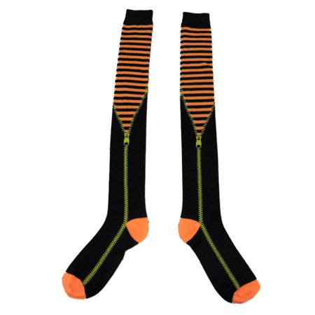 My Halloween Womens Long Orange & Black Striped Zipper Over the Knee Socks