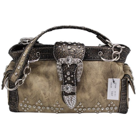 Uniquely Rhinestone and Metal Studded Purse With Belt Buckle Flap Clasp