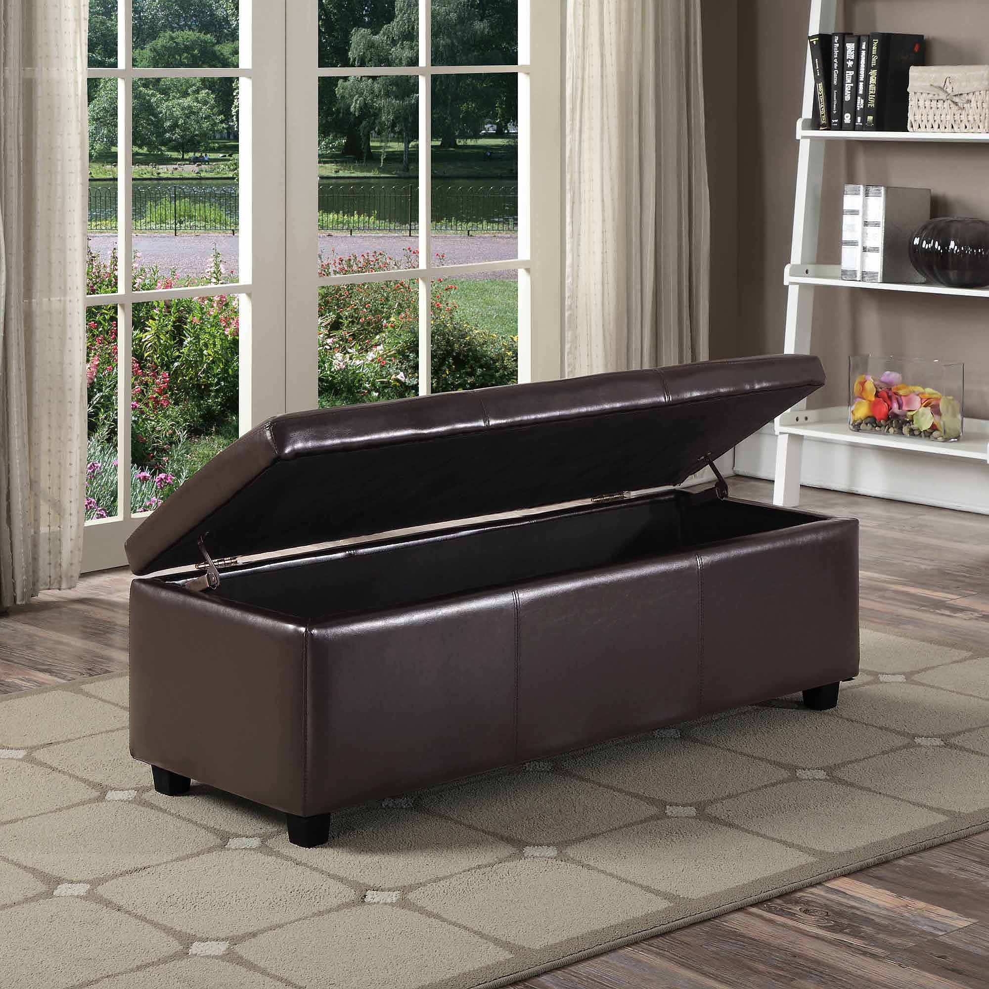 Simpli Home Avalon Large Storage Ottoman Bench Walmartcom