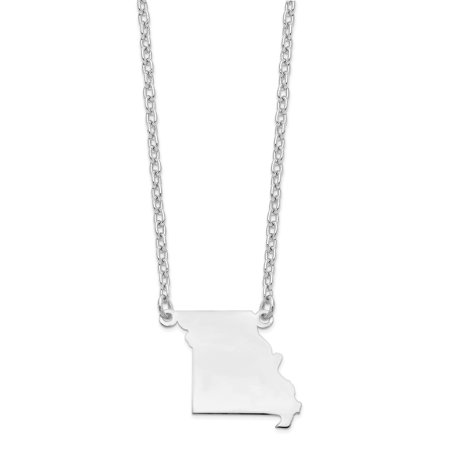 14k White Gold MO State Pendant with chain 14k White Gold Statue