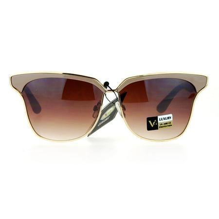 SA106 Womens Luxury Designer Fashion Half Horn Rim Metal Trim Sunglasses Beige ()