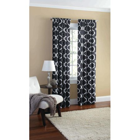 Mainstays Canvas Ironwork Curtain Panel Walmart Com