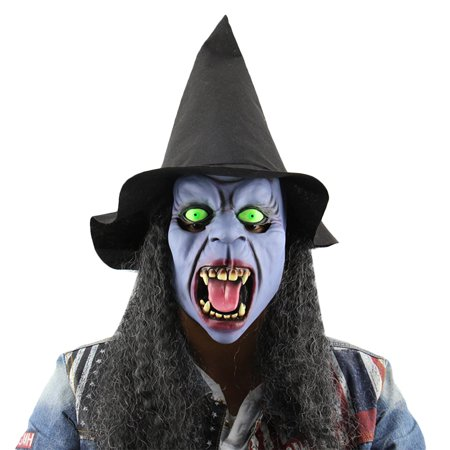 Horror Night Witch Tusks Latex Mask with Hat Wig Masquerade Halloween Party - Witch Latex Mask