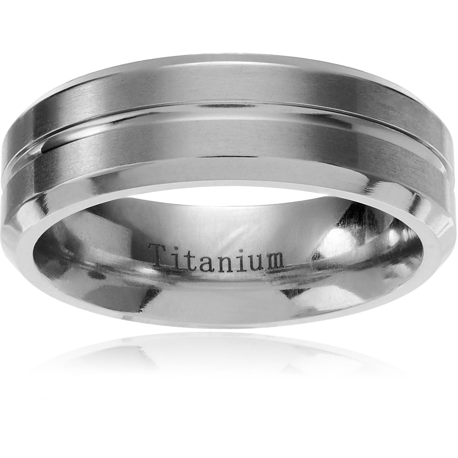 Daxx Men's Titanium Grooved Center Brushed Wedding Ring, 7mm